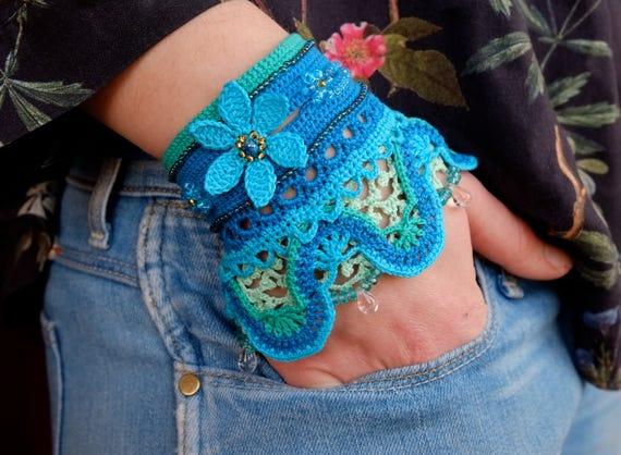 Crochet Cuff Pattern Crochet Bracelet Instructions Boho Chic