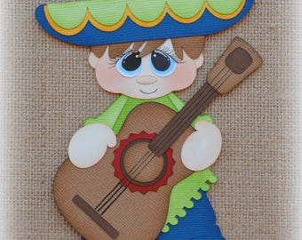 Fiesta boy Mexico Premade Scrapbooking Embellishment Paper Piecing