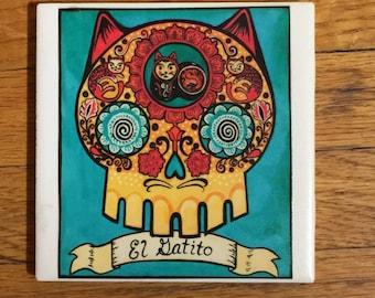 El Gatito (The Little Cat) Ceramic Tile Coaster -  Loteria and Day of the Dead skull Dia de los Muertos calavera designs
