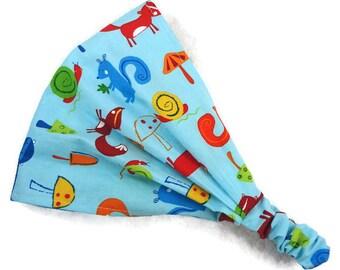 Baby boy headscarf, newborn bandana, toddler hair wrap, child wide headband, gender neutral, girl, foxes squirrels snails raccoons animals
