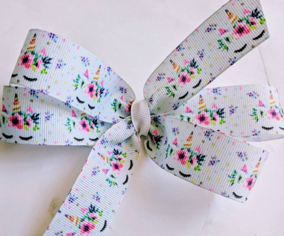 Unicorn Hairbow grosgrain hair bow unicorn hair bow