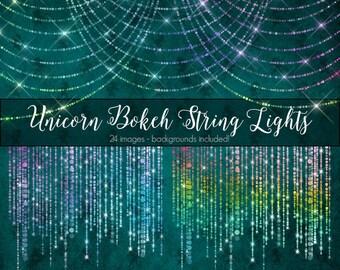 Unicorn Bokeh String Lights Clipart, rainbow pastel fantasy string lights, unicorn clipart, png string of lights fairy photo overlays
