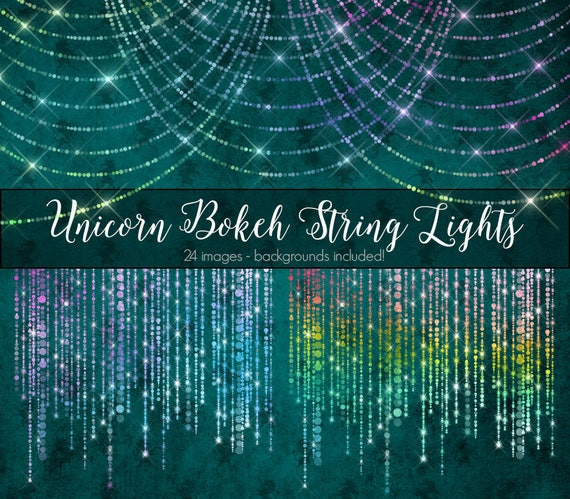 Unicorn Bokeh String Lights Clipart Rainbow Pastel Fantasy