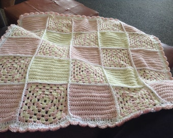 Gorgeous pink and cream patchwork style baby blanket
