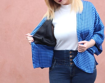 Blue Kimono Jacket - Reversible Jacket - Kimono Robe - Kimono Jacket - Geometric Blue Kimono - Silk Kimono Cardigan - Boho Kimono