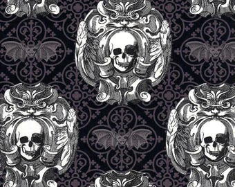 Gothic Skulls & Vampire Bats on Grey and Black Cotton Fabric by Michael Miller - FQ