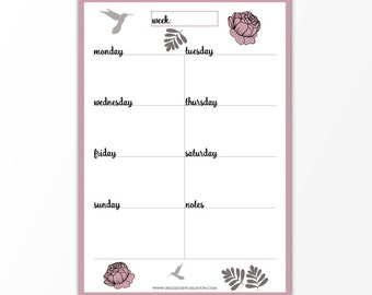 weekly planner printable weekly planner planner inserts a5