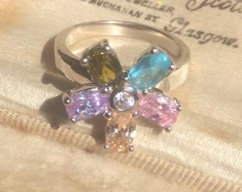 Vintage Topaz Ring, Rainbow Ring, Cluster Ring, Vintage Silver Ring, Gemstone Ring, Vintage Jewellery, Vintage Jewelry, Multistone Ring