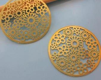 Prints 2 round flower - color gold - Diam: 47mm #A59