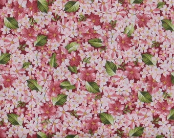 Packed Pink Flowers with Green Leaves 100% Cotton Quilt Fabric for Sale, Roses on the Vine Collection by Marti Michell, Yardage, MAS8434-R