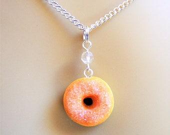 Food Jewelry Sugar Donut Necklace, Donut Pendant, Miniature Food Jewellery, Food Pendant, Mini Food, Doughnut Necklace, Donut Charm, Baker