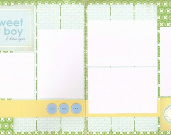 12x12 SWEET BABY BOY scrapbook page kit, premade scrapbook, 12x12 premade scrapbook page, premade scrapbook pages, 12x12 scrapbook layout