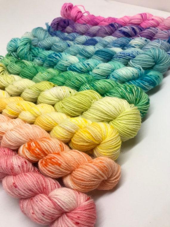 10 x 20g Mini Skein set 75/25 superwash merino/nylon, sock, 4 ply, fingering, hand dyed, bright colour pop rainbow speckle