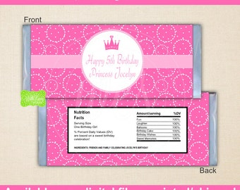 Princess Chocolate Bar Wrappers - Princess Candy Bar Wrapper - Pink Princess Candy Bar Wrapper - Digtal & Printed Available