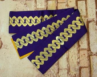 Vintage Japanese Hanhaba Obi Belt, Reversible Purple Kimono Sash with Gold Design