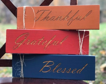 Hand Painted Engraved Thankful, Grateful, Blessed 3 Pack