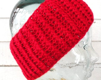 Red Winter Stretchy Headband Earwarmer