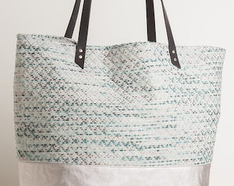 Large Leather Tote Bag, Fabric Mix, Blue Pattern Fabric,Leather Straps,Summer 2015