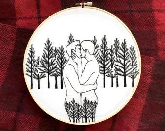 """Embroidery art """"Winter forest"""" / Hoop art / Gay art"""