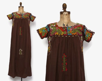Vintage 60s MEXICAN DRESS / 1960s Boho Brown Cotton Embroidered Hippie Ethnic Maxi Dress