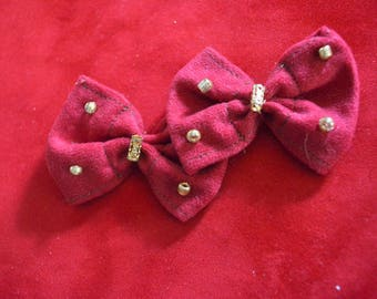 Red and Gold Beaded Bow