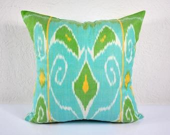 Ikat Pillow, Hand Woven Ikat Pillow Cover A401 -1AA2, Ikat throw pillows, Designer pillows, Decorative pillows, Accent pillows