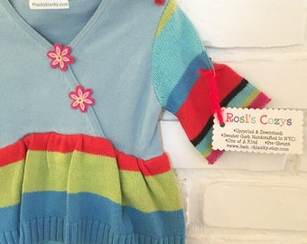 Baby girl sweater with leggings, aqua striped cotton, pink felt flowers, upcycled sweaters, striped leggings,
