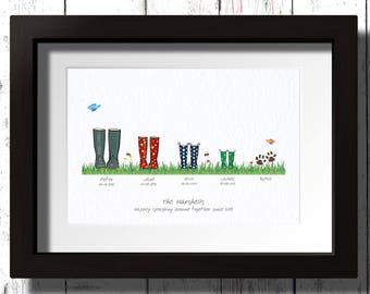 Personalised Family Wellington Framed Print.  Wellington boots with names and dates.