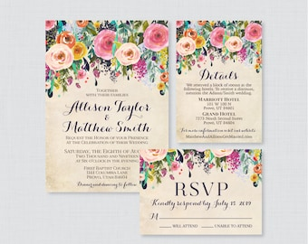 Printable OR Printed Wedding Invitation Suite - Floral Wedding Invitation Package - Shabby Chic, Colorful Flower Wedding Invites 0003-A