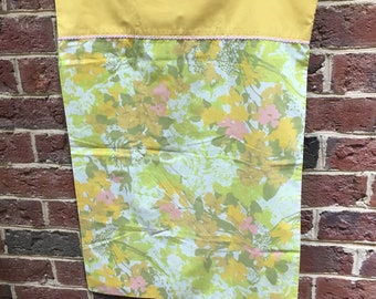 Vintage Retro pink, yellow and green floral standard pillowcase
