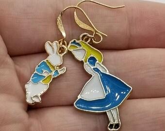 Alice in Wonderland Earrings, Mismatched Earrings, Alice in Wonderland Jewelry, Alice and White Rabbit Earrings, White Rabbit Earrings