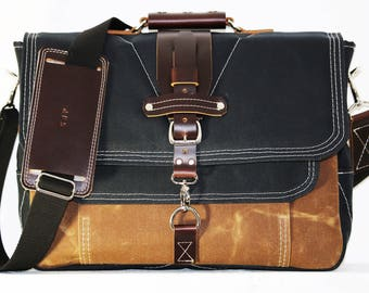 LARGE Waxed Canvas Messenger bag - laptop bag handmade by Alex M Lynch - 010021