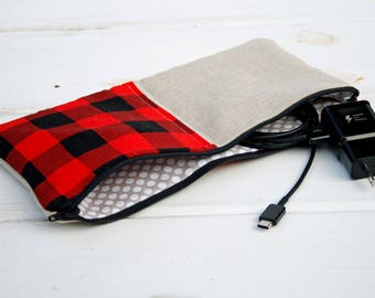 Hipster Charger Cord Cubbies, Zipper Bag for Charger, Phone Cord Tablet Cord Charger Bag, Jewelry Makeup Trave Case, Red Black Buffalo Plaid