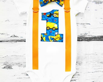 baby boy first birthday Road construction bow tie suspender set cake smash outfit dump truck 1st birthday one year Boy first birthday Boy