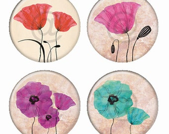 Colorful Poppies Flowers Illustrations Magnets or Pinback Buttons or Flatback Medallions Set of 4