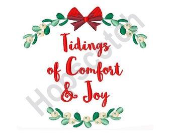 Christmas Design - Machine Embroidery Design, Tidings Of Comfort & Joy