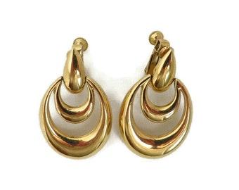 Vintage Napier Earrings, Hoop Earrings, Dangling Hoop Clip on Earrings, Double Hoop Costume Jewelry Goldtone Earrings