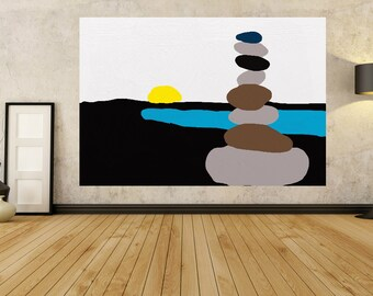 Zen Painting Abstract Wall Art, Blue Painting Yellow Large Painting 24 36 40 48 54 64 72 60 80 Giant Painting Abstract Painting Modern Art