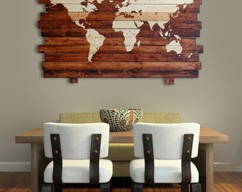"Extra Large Rustic World Map Stained Wall Art on Distressed Solid Wood - 50"" x 35"""
