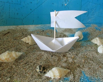 paper boat origami decoration photo prop art supply lot of 10 boats with sails