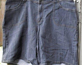 Retro Size 20 Shorts/ Denim and Spandex/ Vintage Vanity Fair/ Denim Thrifted Grunge/ Farmhouse Chic/ Plus Size Thrift/ Shabbyfab Funwear