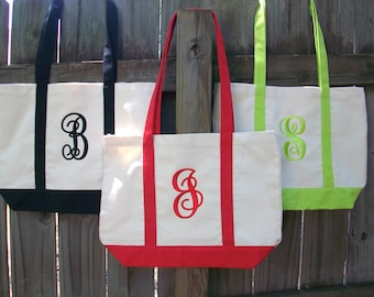 Monogrammed canvas Boat Tote bag, Personalized beach bag,bridesmaid, teacher, graduation gift.