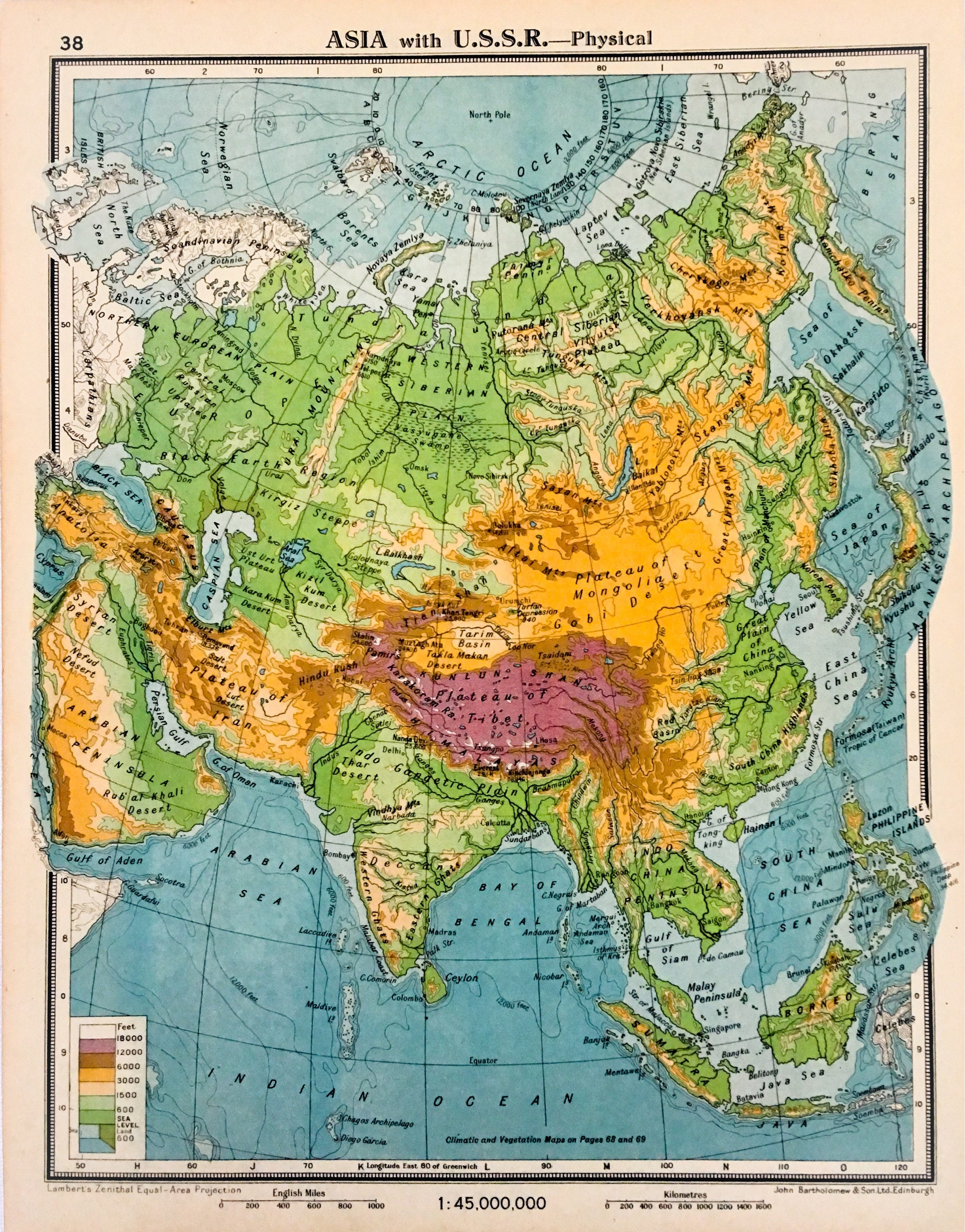 Asia with the ussr physical world maps original vintage page asia with the ussr physical world maps original vintage page 1940s wall art home decor nursery art gumiabroncs Image collections