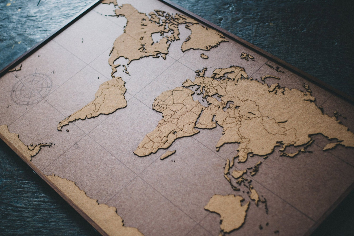 Big lasercut and handmade cork world map wall art with zoom gumiabroncs Images