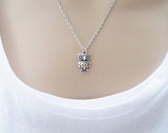 silver owl necklace - simple jewellery - handmade dainty necklace - silver necklace for women