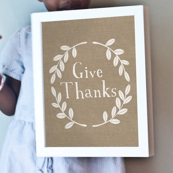 Give Thanks print with burlap background