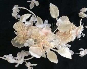 Blush vintage bridal hairpiece