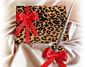 Leopard wedding guest book and pen set - red and leopard cheetah print wedding accessories