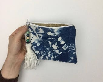 handmade zipper pouch/coin purse with added tassel keyring