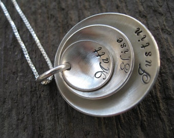 Personalized Hand Stamped  Sterling Silver Necklace Domed Tiers (3 layers)